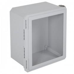 "EF161408-W STI EnviroArmour Fiberglass Enclosure - 16.69"" H x 14.69"" W x 8.06"" D - Clear Window - Non-Returnable"