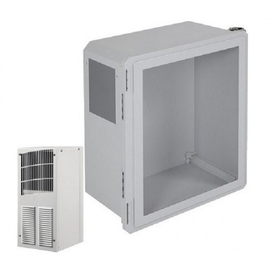 EF181610-W2 STI Fiberglass Enclosure with A/C and Heat 18 x 16 x 10 with Window - Non-Returnable