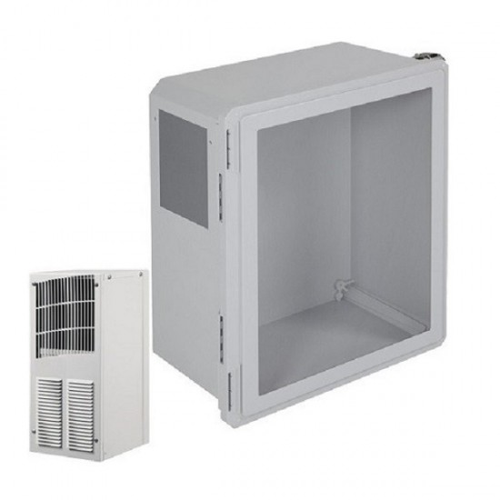 EF201610-W2 STI Fiberglass Enclosure with A/C and Heat 20 x 16 x 10 with Window - Non-Returnable