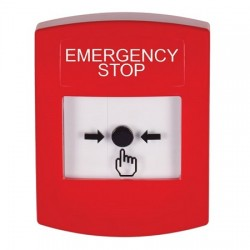 GLR001ES-EN STI Red Indoor Only No Cover Key-to-Reset Push Button with EMERGENCY STOP Label English