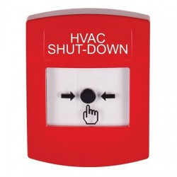 GLR001HV-EN STI Red Indoor Only No Cover Key-to-Reset Push Button with HVAC SHUT-DOWN Label English