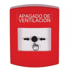 GLR001HV-ES STI Red Indoor Only No Cover Key-to-Reset Push Button with HVAC SHUT-DOWN Label Spanish