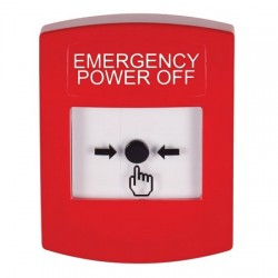 GLR001PO-EN STI Red Indoor Only No Cover Key-to-Reset Push Button with EMERGENCY POWER OFF Label English