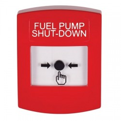GLR001PS-EN STI Red Indoor Only No Cover Key-to-Reset Push Button with FUEL PUMP SHUT-DOWN Label English