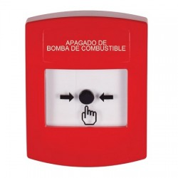 GLR001PS-ES STI Red Indoor Only No Cover Key-to-Reset Push Button with FUEL PUMP SHUT-DOWN Label Spanish