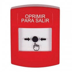 GLR001PX-ES STI Red Indoor Only No Cover Key-to-Reset Push Button with PUSH TO EXIT Label Spanish