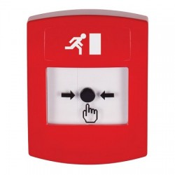GLR001RM-EN STI Red Indoor Only No Cover Key-to-Reset Push Button with Running Man Icon English