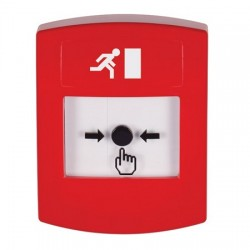 GLR001RM-ES STI Red Indoor Only No Cover Key-to-Reset Push Button with Running Man Icon Spanish