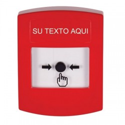 GLR001ZA-ES STI Red Indoor Only No Cover Key-to-Reset Push Button with Non-Returnable Custom Text Label Spanish