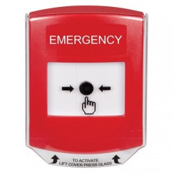 GLR021EM-EN STI Red Indoor Only Shield Key-to-Reset Push Button with EMERGENCY Label English