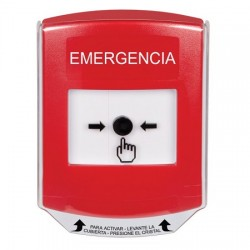GLR021EM-ES STI Red Indoor Only Shield Key-to-Reset Push Button with EMERGENCY Label Spanish