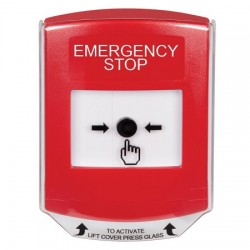 GLR021ES-EN STI Red Indoor Only Shield Key-to-Reset Push Button with  EMERGENCY STOP Label English