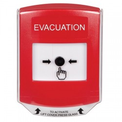 GLR021EV-EN STI Red Indoor Only Shield Key-to-Reset Push Button with EVACUATION Label English