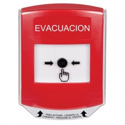 GLR021EV-ES STI Red Indoor Only Shield Key-to-Reset Push Button with EVACUATION Label Spanish