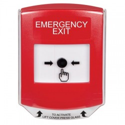GLR021EX-EN STI Red Indoor Only Shield Key-to-Reset Push Button with EMERGENCY EXIT Label English