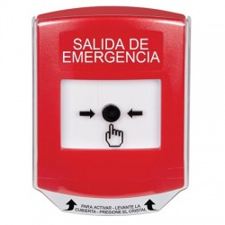 GLR021EX-ES STI Red Indoor Only Shield Key-to-Reset Push Button with EMERGENCY EXIT Label Spanish