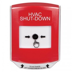 GLR021HV-EN STI Red Indoor Only Shield Key-to-Reset Push Button with HVAC SHUT-DOWN Label English