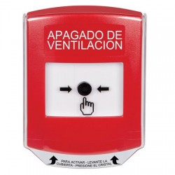GLR021HV-ES STI Red Indoor Only Shield Key-to-Reset Push Button with HVAC SHUT-DOWN Label Spanish