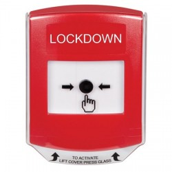 GLR021LD-EN STI Red Indoor Only Shield Key-to-Reset Push Button with LOCKDOWN Label English