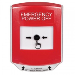 GLR021PO-EN STI Red Indoor Only Shield Key-to-Reset Push Button with EMERGENCY POWER OFF Label English