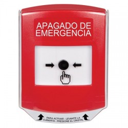 GLR021PO-ES STI Red Indoor Only Shield Key-to-Reset Push Button with EMERGENCY POWER OFF Label Spanish