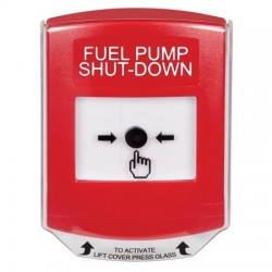 GLR021PS-EN STI Red Indoor Only Shield Key-to-Reset Push Button with FUEL PUMP SHUT-DOWN Label English