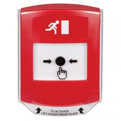 GLR021RM-EN STI Red Indoor Only Shield Key-to-Reset Push Button with Running Man Icon English