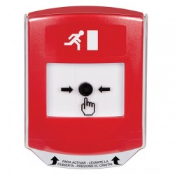 GLR021RM-ES STI Red Indoor Only Shield Key-to-Reset Push Button with Running Man Icon Spanish