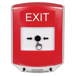 GLR021XT-EN STI Red Indoor Only Shield Key-to-Reset Push Button with EXIT Label English