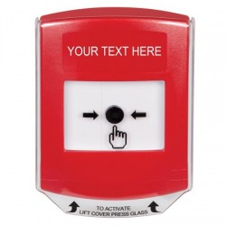 GLR021ZA-EN STI Red Indoor Only Shield Key-to-Reset Push Button with Non-Returnable Custom Text Label English