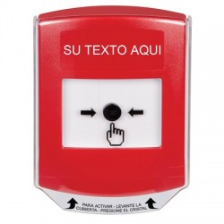 GLR021ZA-ES STI Red Indoor Only Shield Key-to-Reset Push Button with Non-Returnable Custom Text Label Spanish
