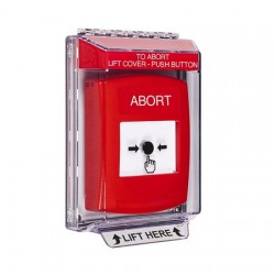 GLR031AB-EN STI Red Indoor/Outdoor Low Profile Flush Mount Key-to-Reset Push Button with ABORT Label English