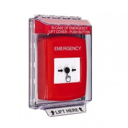 GLR031EM-EN STI Red Indoor/Outdoor Low Profile Flush Mount Key-to-Reset Push Button with EMERGENCY Label English