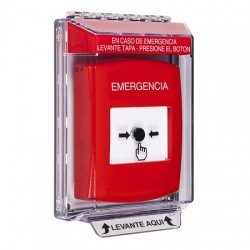GLR031EM-ES STI Red Indoor/Outdoor Low Profile Flush Mount Key-to-Reset Push Button with EMERGENCY Label Spanish