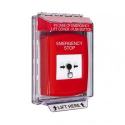GLR031ES-EN STI Red Indoor/Outdoor Low Profile Flush Mount Key-to-Reset Push Button with EMERGENCY STOP Label English