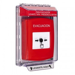GLR031EV-ES STI Red Indoor/Outdoor Low Profile Flush Mount Key-to-Reset Push Button with EVACUATION Label Spanish