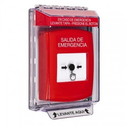 GLR031EX-ES STI Red Indoor/Outdoor Low Profile Flush Mount Key-to-Reset Push Button with EMERGENCY EXIT Label Spanish