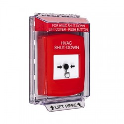 GLR031HV-EN STI Red Indoor/Outdoor Low Profile Flush Mount Key-to-Reset Push Button with HVAC SHUT-DOWN Label English