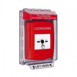 GLR031LD-EN STI Red Indoor/Outdoor Low Profile Flush Mount Key-to-Reset Push Button with LOCKDOWN Label  English