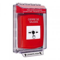 GLR031LD-ES STI Red Indoor/Outdoor Low Profile Flush Mount Key-to-Reset Push Button with LOCKDOWN Label Spanish