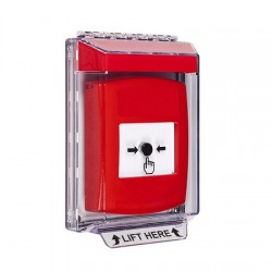 GLR031NT-EN STI Red Indoor/Outdoor Low Profile Flush Mount Key-to-Reset Push Button with No Text Label English