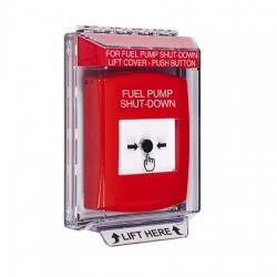 GLR031PS-EN STI Red Indoor/Outdoor Low Profile Flush Mount Key-to-Reset Push Button with FUEL PUMP SHUT-DOWN Label English