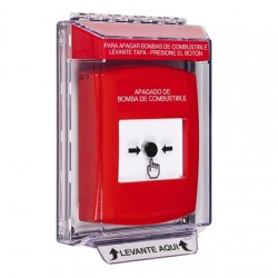 GLR031PS-ES STI Red Indoor/Outdoor Low Profile Flush Mount Key-to-Reset Push Button with FUEL PUMP SHUT-DOWN Label Spanish