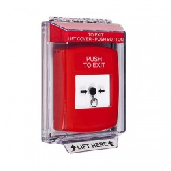 GLR031PX-EN STI Red Indoor/Outdoor Low Profile Flush Mount Key-to-Reset Push Button with PUSH TO EXIT Label English