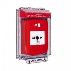 GLR031RM-EN STI Red Indoor/Outdoor Low Profile Flush Mount Key-to-Reset Push Button with Running Man Icon English