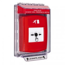 GLR031RM-ES STI Red Indoor/Outdoor Low Profile Flush Mount Key-to-Reset Push Button with Running Man Icon Spanish