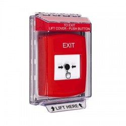 GLR031XT-EN STI Red Indoor/Outdoor Low Profile Flush Mount Key-to-Reset Push Button with EXIT Label English