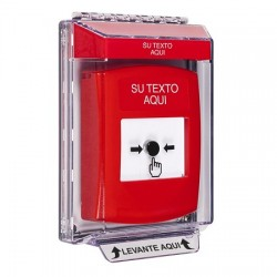 GLR031ZA-ES STI Red Indoor/Outdoor Low Profile Flush Mount Key-to-Reset Push Button with Non-Returnable Custom Text Label Spanish