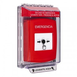 GLR041EM-ES STI Red Indoor/Outdoor Low Profile Flush Mount w/ Sound Key-to-Reset Push Button with EMERGENCY Label Spanish