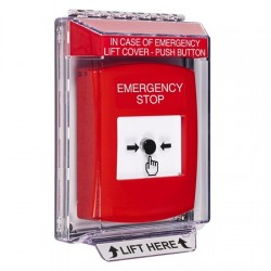 GLR041ES-EN STI Red Indoor/Outdoor Low Profile Flush Mount w/ Sound Key-to-Reset Push Button with EMERGENCY STOP Label English